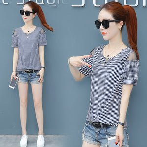 O Neck Short Sleeve Top-Blouses & Shirts-[korean fashion]-[korean clothing]-[korean style]-SOO・JIN