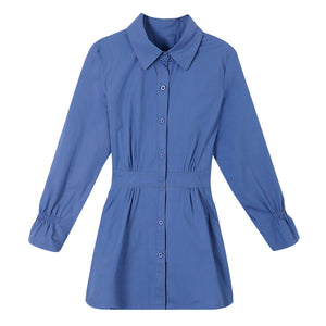 Semi-Dress Collar Shirt-Blouses & Shirts-[korean fashion]-[korean clothing]-[korean style]-SOO・JIN