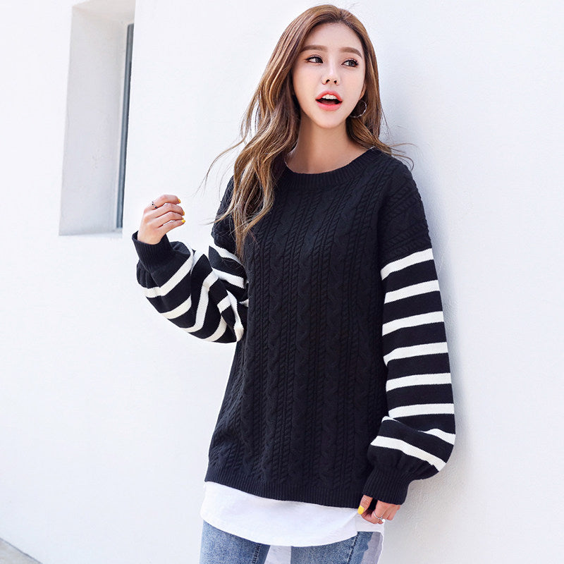 White Striped Sleeve Pullover-Cardigans-[korean fashion]-[korean clothing]-[korean style]-SOO・JIN