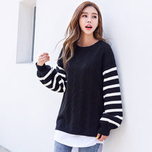 White Striped Sleeve Pullover