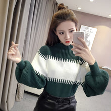 CONTRAST Puff Sleeve Sweater