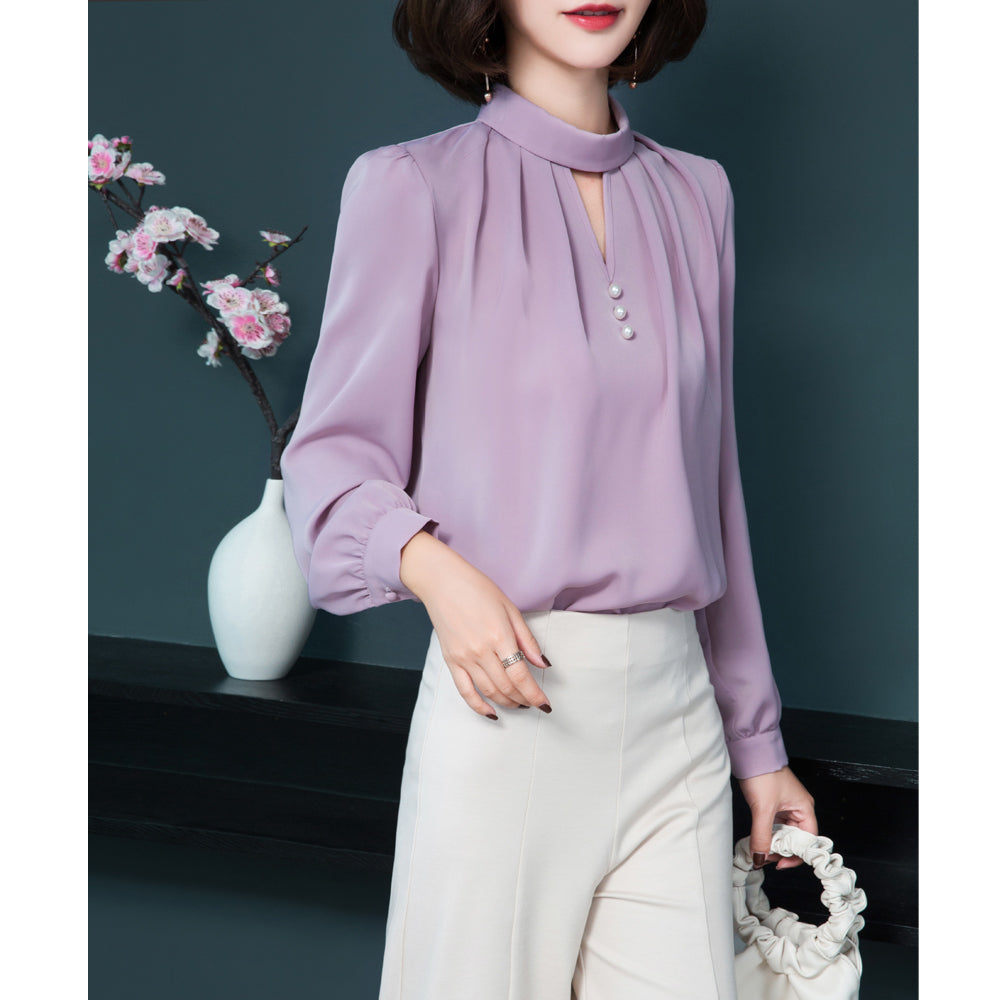 Ring V Designer Blouse-Blouses & Shirts-[korean fashion]-[korean clothing]-[korean style]-SOO・JIN