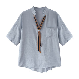Stripe Tie Half Sleeve Shirt-Blouses & Shirts-[korean fashion]-[korean clothing]-[korean style]-SOO・JIN