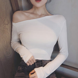 Off Side Shoulder Top-Blouses & Shirts-[korean fashion]-[korean clothing]-[korean style]-SOO・JIN