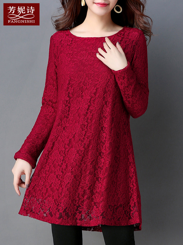 Lace Patterning O-Neck Dress-Dresses-[korean fashion]-[korean clothing]-[korean style]-SOO・JIN