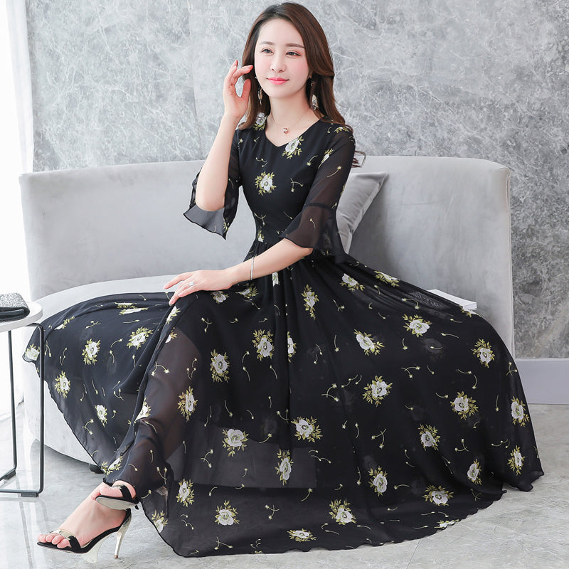 Multi-Size Full Length Dress - korean clothing and fashion