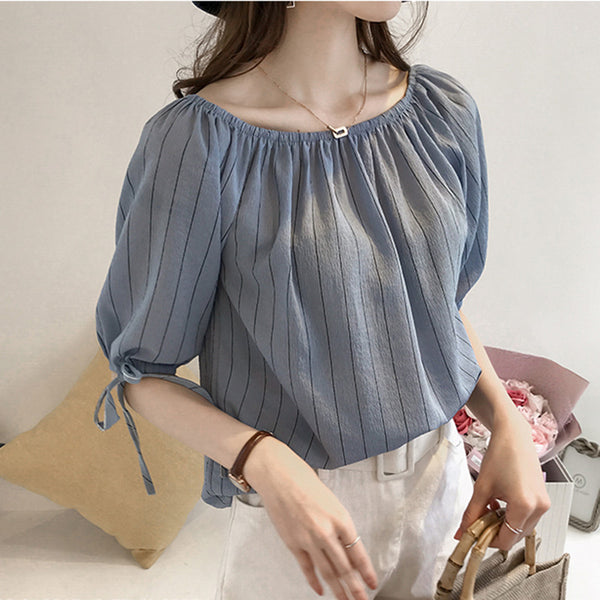 Ruffled Collar Summer Top - korean clothing and fashion