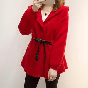 Rose Red Warm Mid-Length Coat