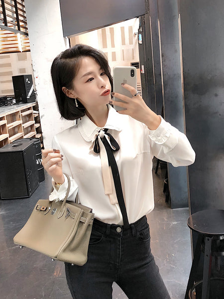 Preppy Style Tie Shirt - korean clothing and fashion
