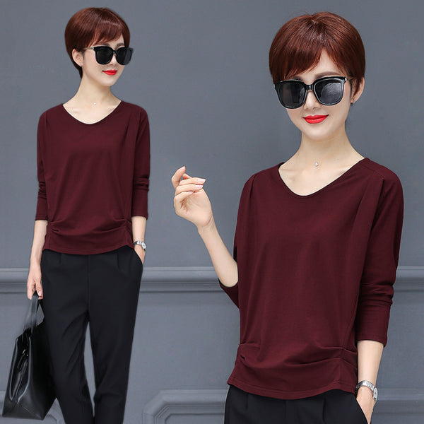 Casual Solid Tunic Top - korean clothing and fashion