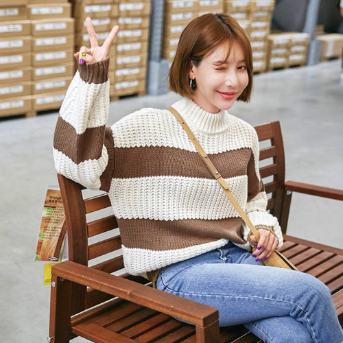 Brown Stripes on White Pullover