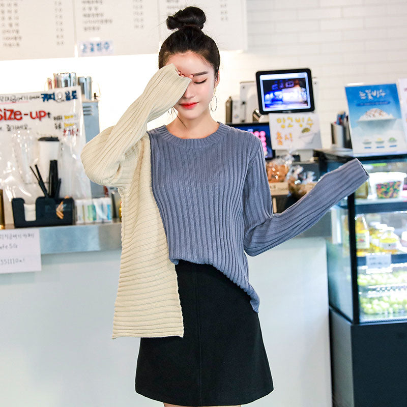 Dual Sleeve Colors Pullover-Cardigans-[korean fashion]-[korean clothing]-[korean style]-SOO・JIN