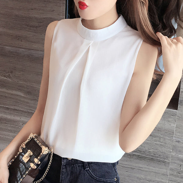 White Chiffon Halter Top - korean clothing and fashion