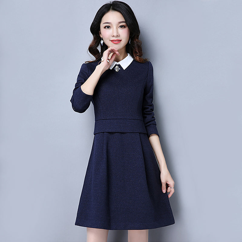 Preppy Collar Dress-Dresses-[korean fashion]-[korean clothing]-[korean style]-SOO・JIN