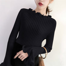 Ruffle Sleeve Stretchy Pull-Over - korean clothing and fashion