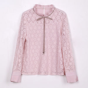 Star-Lace Blouse-Blouses & Shirts-[korean fashion]-[korean clothing]-[korean style]-SOO・JIN