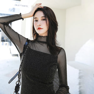 Casual Look Mesh Top-Blouses & Shirts-[korean fashion]-[korean clothing]-[korean style]-SOO・JIN