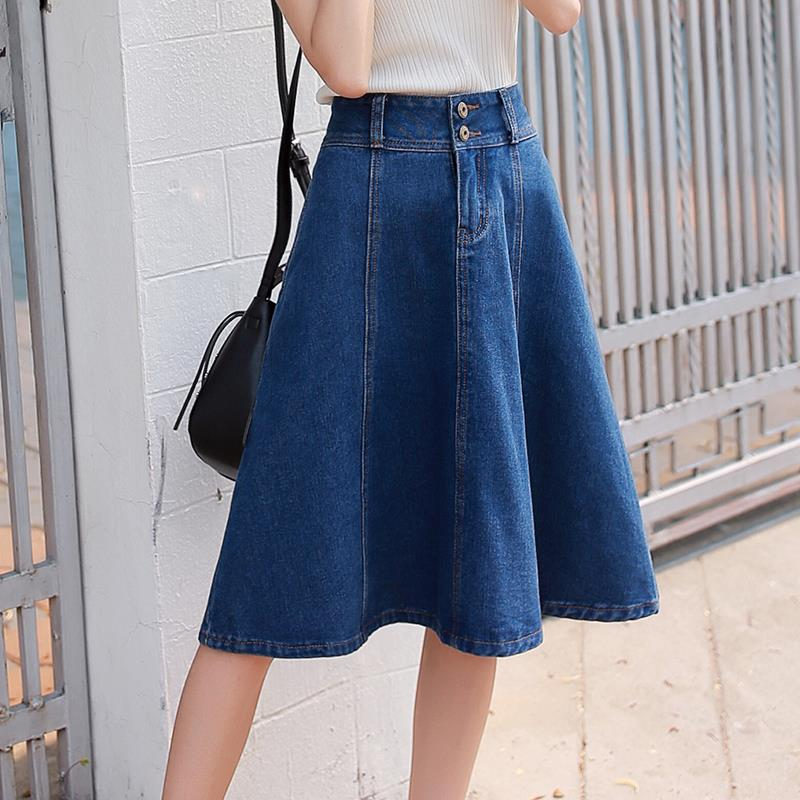 A-Line Denim Skirt-Bottoms-[korean fashion]-[korean clothing]-[korean style]-SOO・JIN