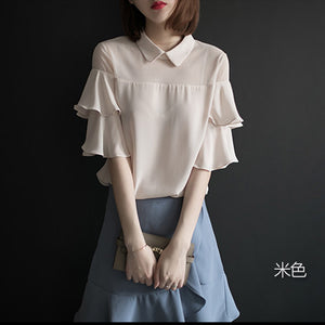 Collar & Mesh Ruffle Shirt - korean clothing and fashion