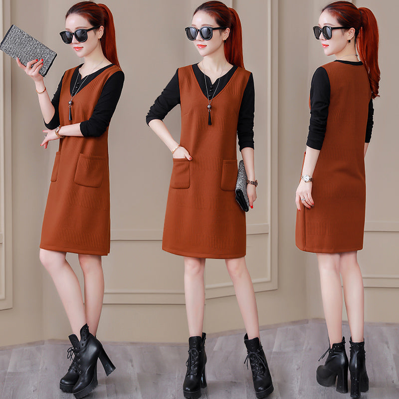 Casual Mock Vest Dress-Dresses-[korean fashion]-[korean clothing]-[korean style]-SOO・JIN