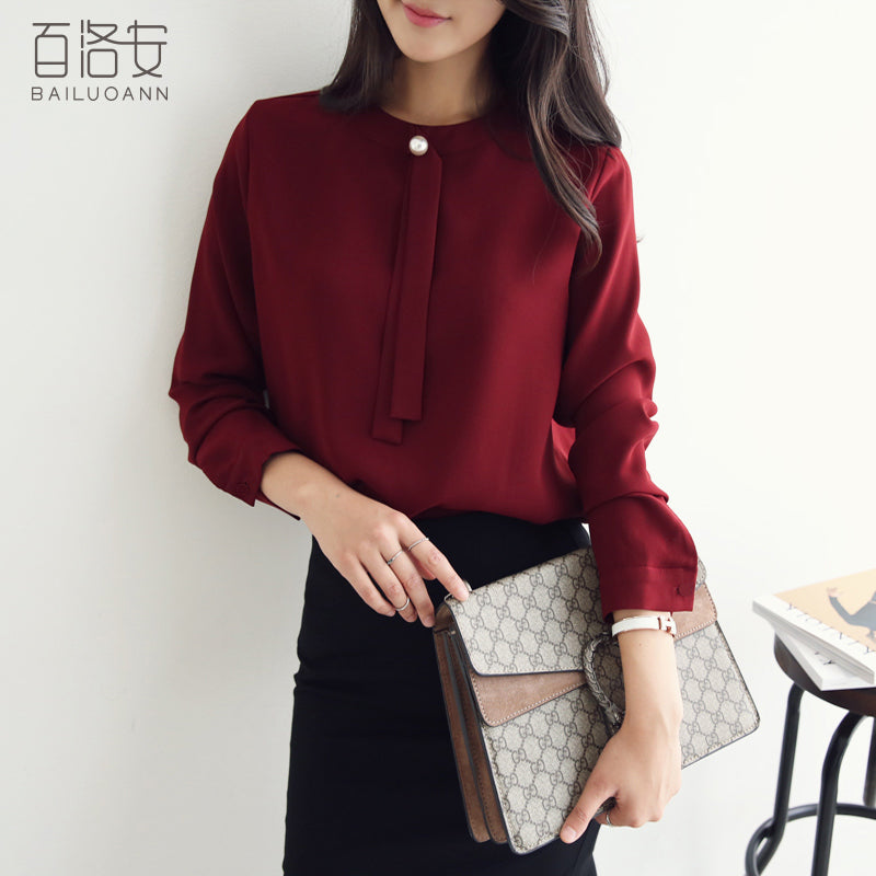 Solid Autumn Commuter Shirt-Blouses & Shirts-[korean fashion]-[korean clothing]-[korean style]-SOO・JIN