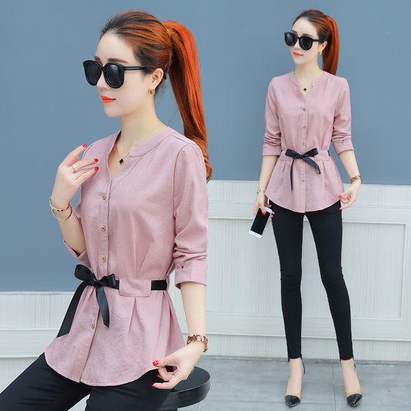Waist-Tie Button Shirt - korean clothing and fashion