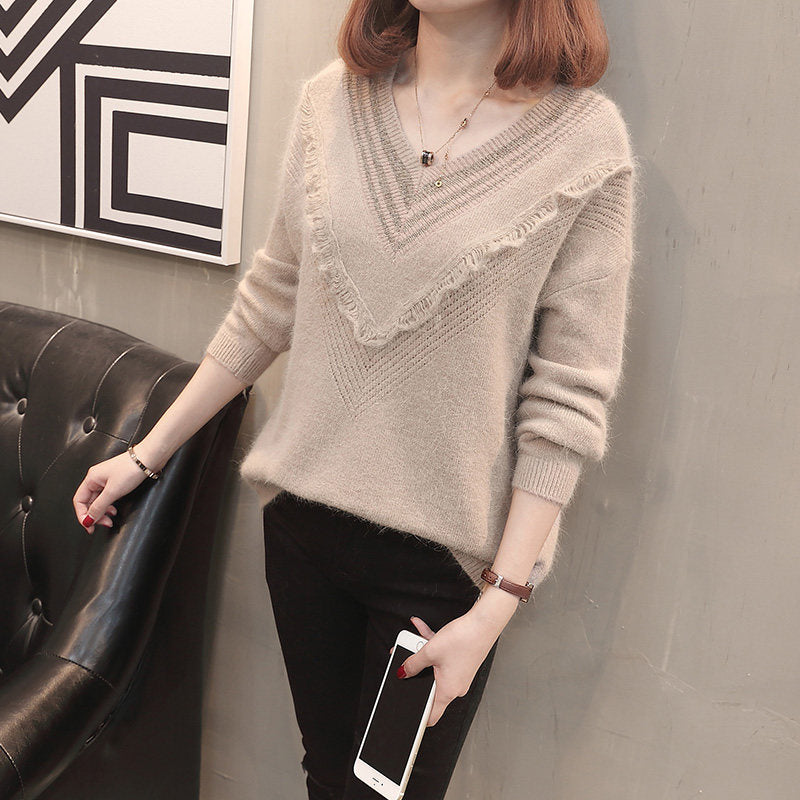 V Chest Pull-Over-Cardigans-[korean fashion]-[korean clothing]-[korean style]-SOO・JIN