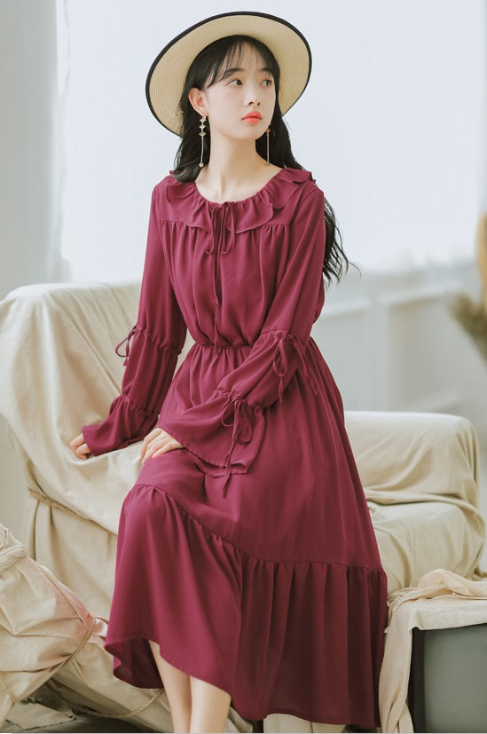 Pan Collar Tie Dress-Dresses-[korean fashion]-[korean clothing]-[korean style]-SOO・JIN