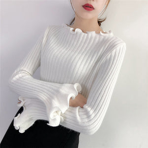 Ruffle Sleeve Stretchy Pull-Over-Sweater-[korean fashion]-[korean clothing]-[korean style]-SOO・JIN