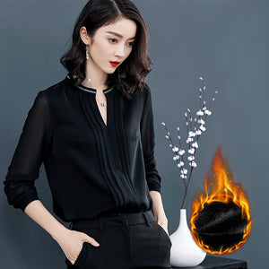 Open Collar Black Top-Blouses & Shirts-[korean fashion]-[korean clothing]-[korean style]-SOO・JIN