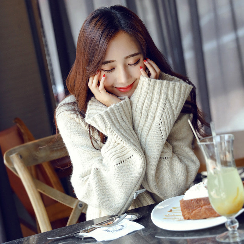 Thick Knit Ribbed Pullover-Cardigans-[korean fashion]-[korean clothing]-[korean style]-SOO・JIN
