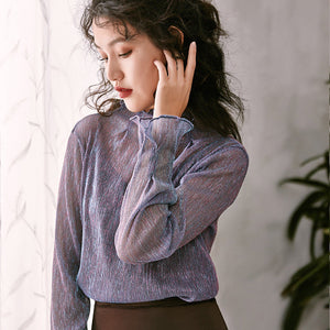 Mesh Elegance Soft Blouse-Blouses & Shirts-[korean fashion]-[korean clothing]-[korean style]-SOO・JIN