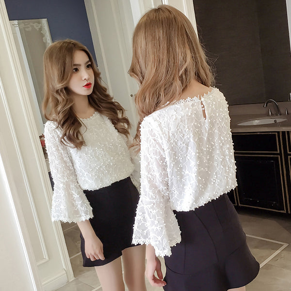 Chiffon Lace Loose Top - korean clothing and fashion