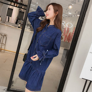 Flare Style Denim Dress-Dresses-[korean fashion]-[korean clothing]-[korean style]-SOO・JIN