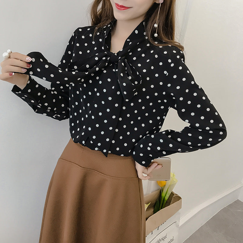 2018 Polka Dot Shirt-Blouses & Shirts-[korean fashion]-[korean clothing]-[korean style]-SOO・JIN