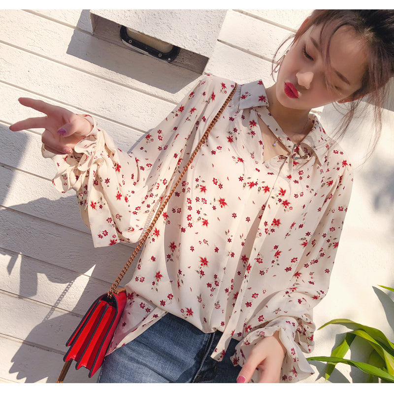 A18B Loose Floral Lantern Sleeve Chic Shirt
