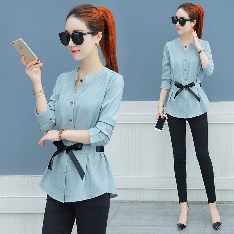 Waist-Tie Button Shirt-Blouses & Shirts-[korean fashion]-[korean clothing]-[korean style]-SOO・JIN