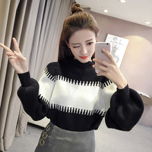 A5E 2018Autumn Korean version of the new stitching sweater blouse pullover knit sleeve loose sweater bottom sweater tide