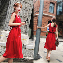 Back Hatch Sleeveless Dress - korean clothing and fashion