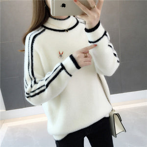 Striped Collar & Sleeve Pullover-Cardigans-[korean fashion]-[korean clothing]-[korean style]-SOO・JIN