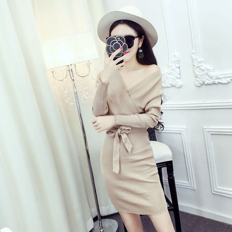V Cut Tie Dress-Dresses-[korean fashion]-[korean clothing]-[korean style]-SOO・JIN