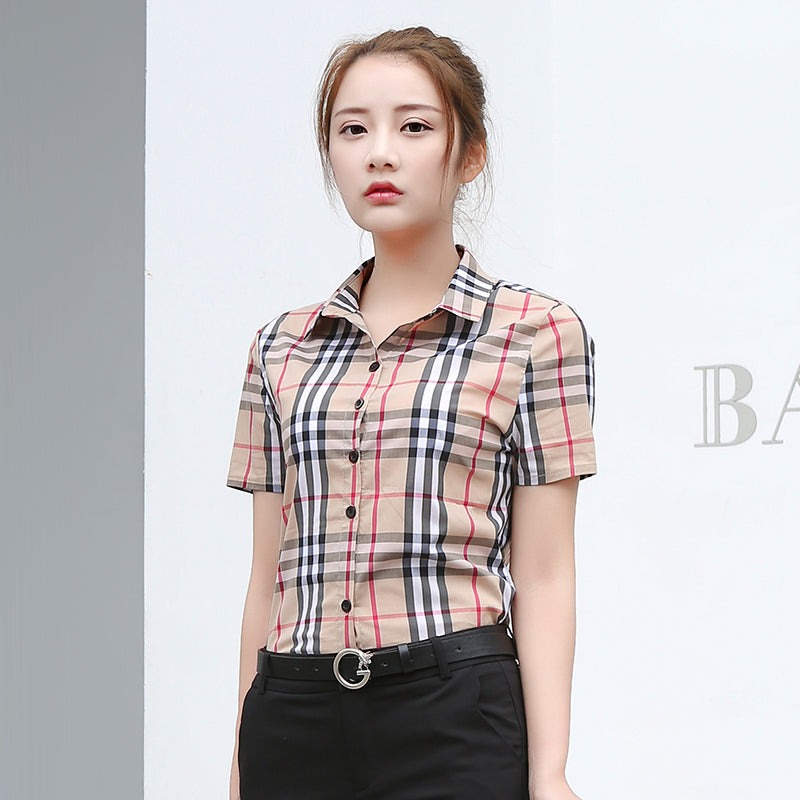 Beige Plaid Collar Shirt-Blouses & Shirts-[korean fashion]-[korean clothing]-[korean style]-SOO・JIN