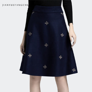 Embroidered Woolen Mid-Length Skirt