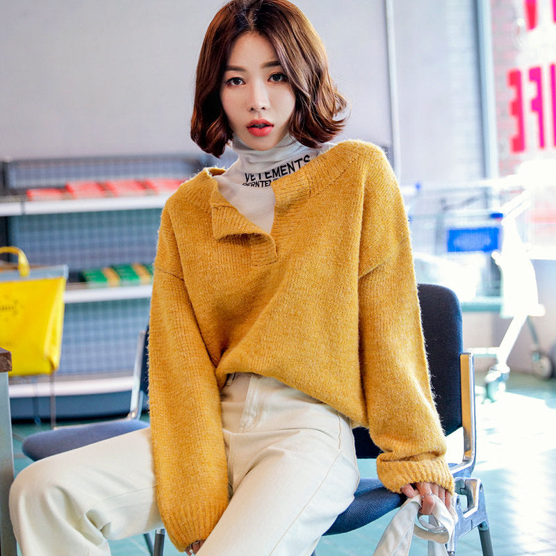 Collar Slit Loose Pullover-Cardigans-[korean fashion]-[korean clothing]-[korean style]-SOO・JIN