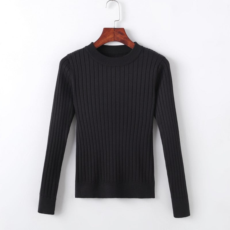 2019 Crew Neck Ribbed Pullover-Cardigans-[korean fashion]-[korean clothing]-[korean style]-SOO・JIN
