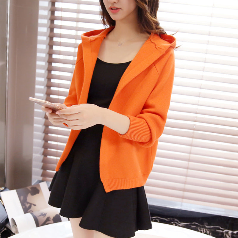Short Style Hoodie Cardigan-Cardigans-[korean fashion]-[korean clothing]-[korean style]-SOO・JIN