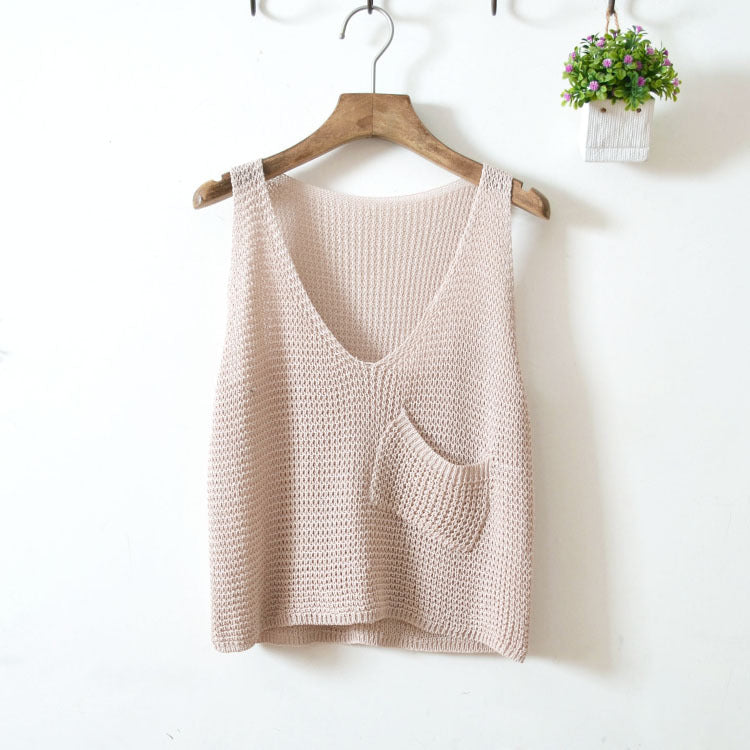 Short Waist Solid Vest-T-Shirts-[korean fashion]-[korean clothing]-[korean style]-SOO・JIN