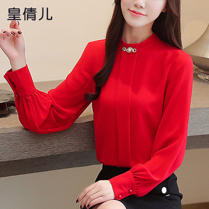 Placket & Puff Blouse-Blouses & Shirts-[korean fashion]-[korean clothing]-[korean style]-SOO・JIN