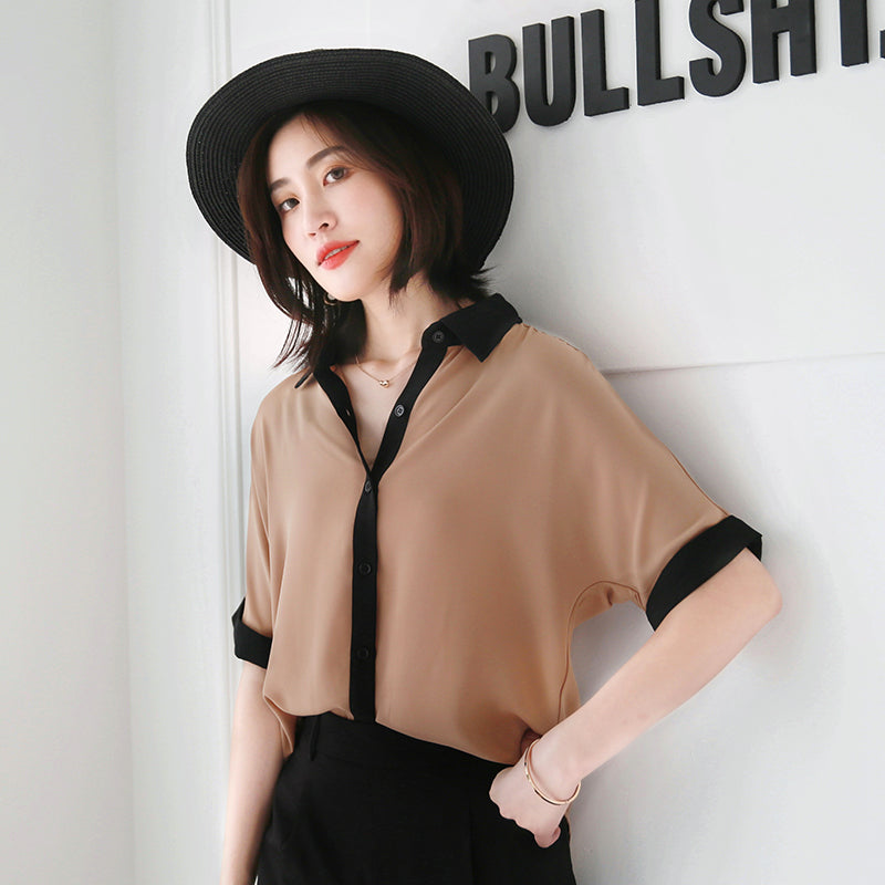 Black Stripes Collar Tee-Blouses & Shirts-[korean fashion]-[korean clothing]-[korean style]-SOO・JIN