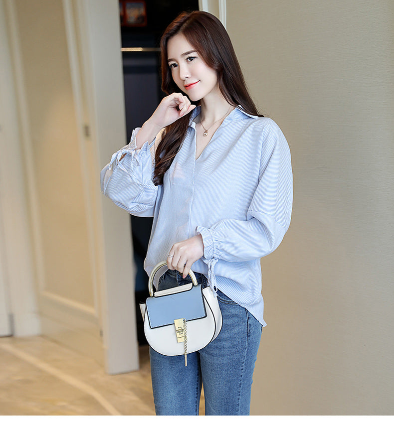 AZURE Striped Shirt-Blouses & Shirts-[korean fashion]-[korean clothing]-[korean style]-SOO・JIN